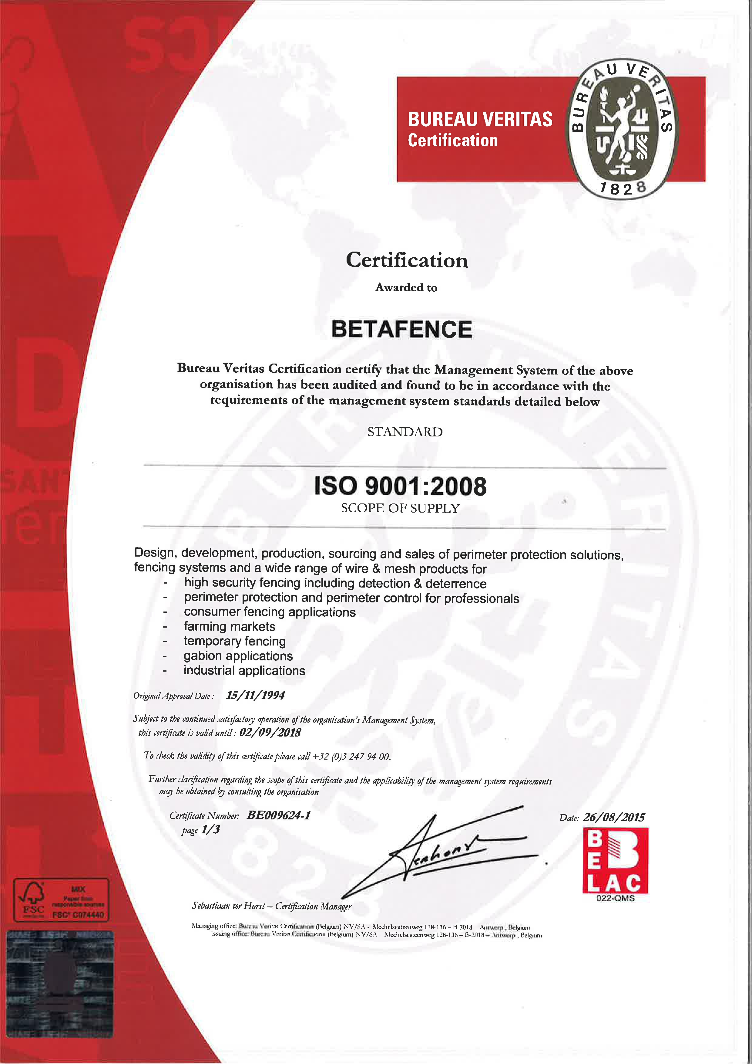 Certificate Betafence ISO 9001 2015 2018 ENG page 0